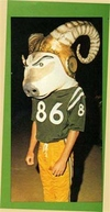 Gigantic papier-mâché  head and horns made mascot top heavy.