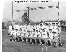 photo of 1950s TC junior high football team in white uniforms